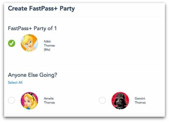 Creating a FastPass+ Party