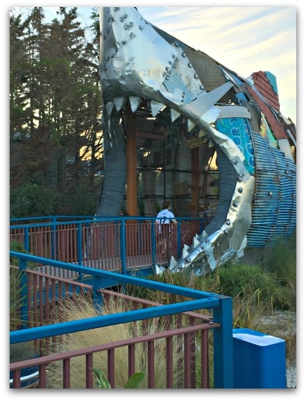 The entrance to the Shark Hotel at Thorpe Park