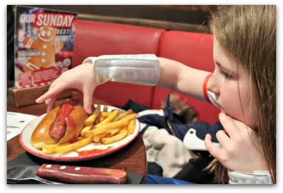 TGI Friday hotdog for kids
