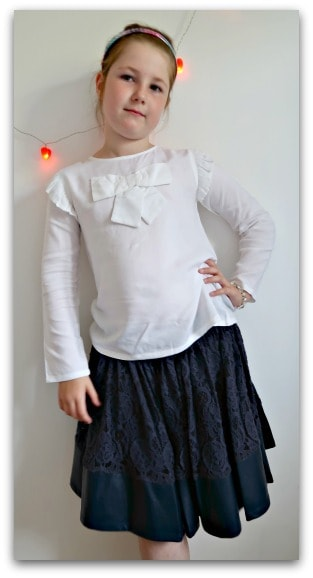 My daughter enjoying modelling her new outfit from Angel and Rocket