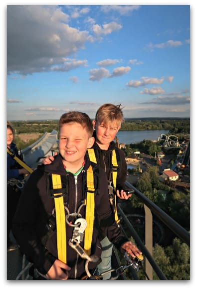The boys particularly loved being at the top of THE SWARM on the VIP Coaster Climb at Thorpe Park