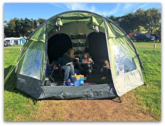 enjoying breakfast in the tent