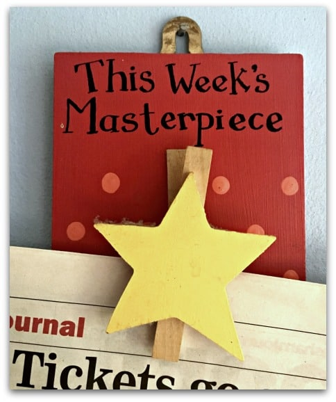 We have a This Week's Masterpiece peg for each child to display different pieces of artwork