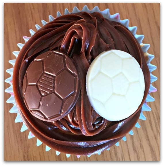 Vanilla Cupcakes Decorated with Dr Oetker Spray Icing and Chocolate Footballs