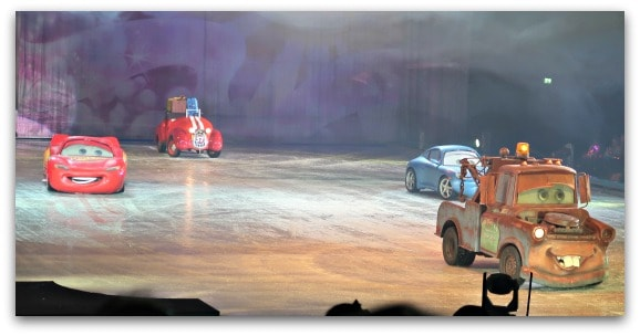 Disney On Ice Worlds of Enchantment some of our favourite characters from Cars make an appearance to help fix Mickey and Minnie's car running again