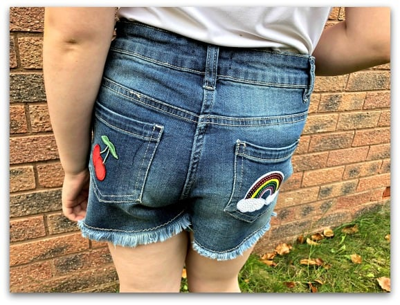 Girls Badge Denim Shorts from Fashion World
