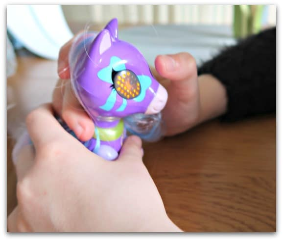 Playing with Lilac from the new Zoomer Zupps Pretty Ponies  - they are perfect for little hands to play with