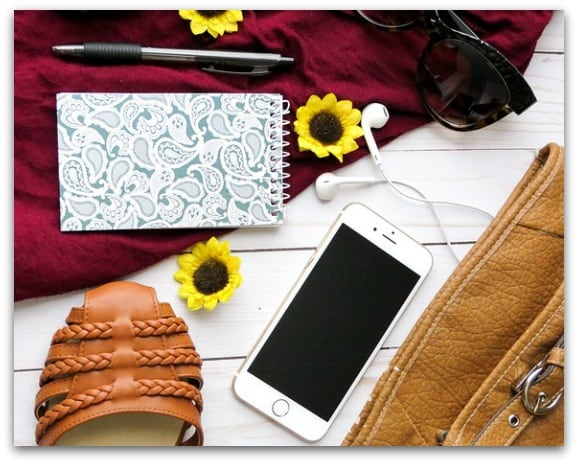Summer Bag Essentials for Mums On The Go phone and notebook