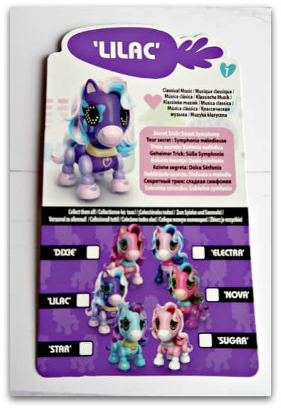 Zoomer Zupps Pretty Ponies Lilac collectors card