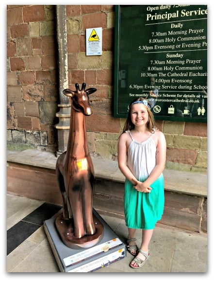 Our favourite Worcester Stands Tall calf tucked inside the entrance to Worcester Cathedral