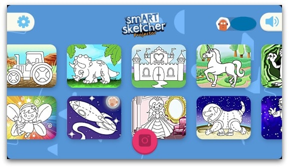 Use the smART Sketcher Projector App to access the preloaded drawings and download a photo of your own to trace
